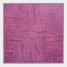 abstract  contemporary painting oil on canvas series of repeated marks on a deep pink background in dark blue over grey