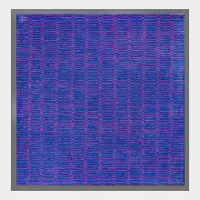 contempory oil on canvas blue with pink repeated marks